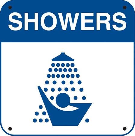 "Aluminum Sign- ""Showers"" and Symbol"