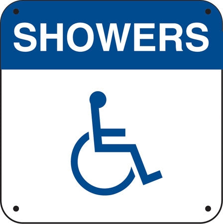 "Aluminum Sign- ""Showers"" and Handicap Symbol"