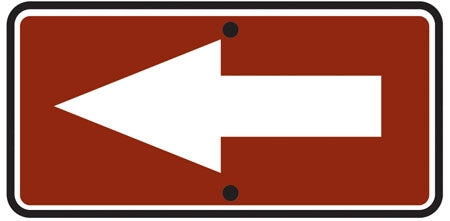 Reflective Sign Reversible Arrow Right/Left
