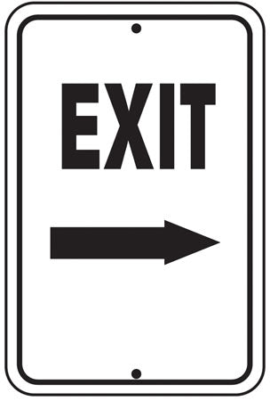 "Reflective Aluminum Sign ""Exit"" Right Arrow"