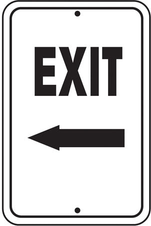 "Reflective Aluminum Sign ""Exit"" Left Arrow"