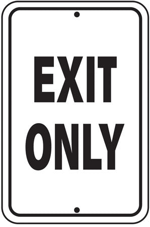 ".080 Reflective Aluminum Sign ""Exit Only"""