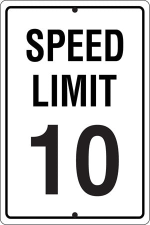 ".080 Reflective Aluminum Sign ""Speed Limit 10"""