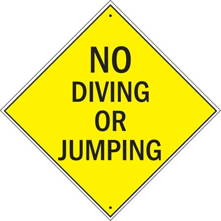 "Aluminum Sign ""No Diving Or Jumping"""
