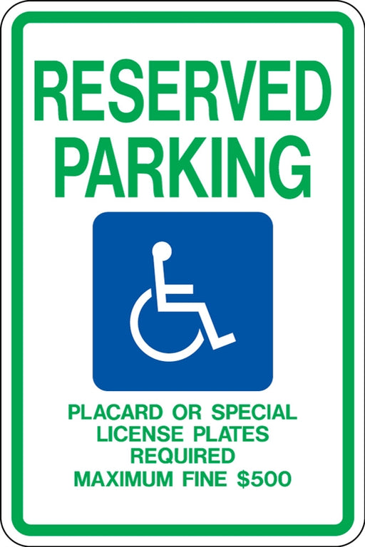 ".080 Reflective ""RESERVED PARKING (handicap)"""