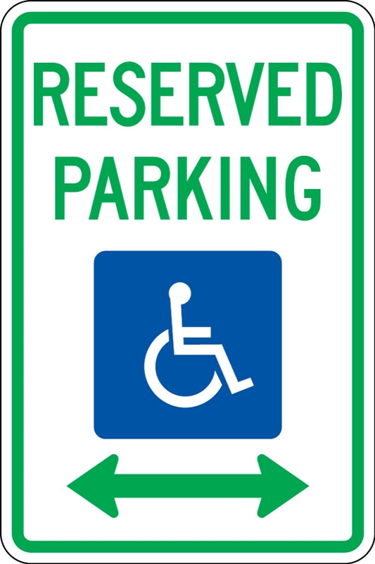 ".080 Reflective ""RESERVED PARKING (handicap) Arrows"""