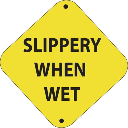 "Aluminum Trail Marker ""Slippery When Wet"""