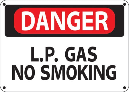 "Danger L.P. Gas No Smoking- 14"" w x 10"" h Aluminum Sign"