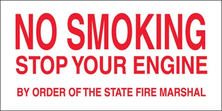 "Decal- ""No Smoking Stop Engine"""