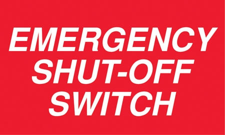 "Decal- ""Emergency Shut Off Switch"""