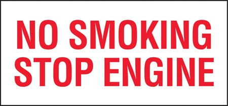 "No Smoking Stop Engine- 13""w x 6""h Decal"
