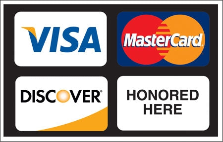 "Visa, MasterCard And Discover Honored Here- 13""w x 9""h Decal"
