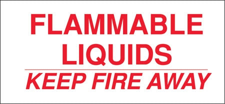 "Decal- ""Flammable Liquid Keep Fire Away"""