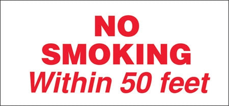 "No Smoking Within 50 Ft- 13"" w x 6"" h Decal"