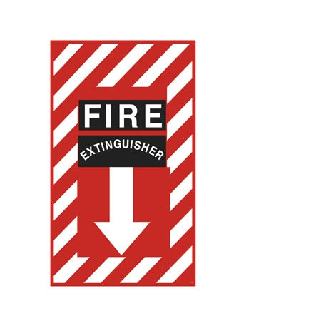 "Decal- ""Fire Extinguisher"" Down Arrow"