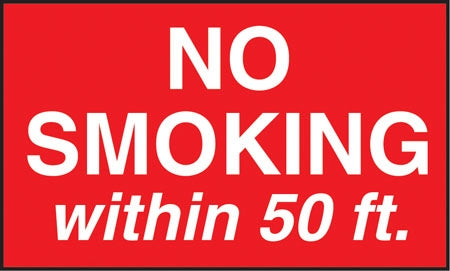 "No Smoking Within 50 Ft- 5""w x 3""h Decal"
