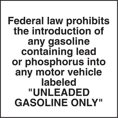 "Federal Law Prohibits- 6""w x 5""h Decal"