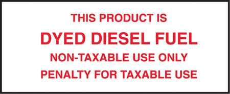 "This Product Is Dyed Diesel Fuel- 5""w x 2""h Decal"