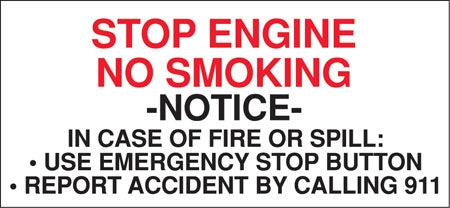 "Stop Engine No Smoking- 13""w x 6""h Decal"