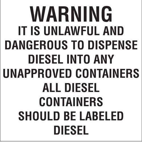 "Decal- ""Warning it is unlawful and dangerous..."""