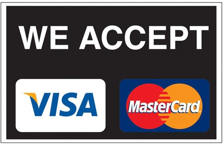 "We Accept Visa MasterCard- 13""w x 9""h Decal"
