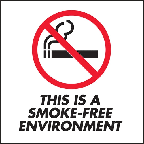 "This Is A Smoke Free Environment- 6""w x 6""h Decal"