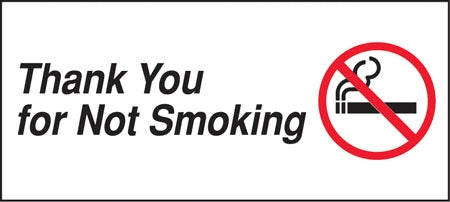 "Decal- ""Thank You For Not Smoking"""