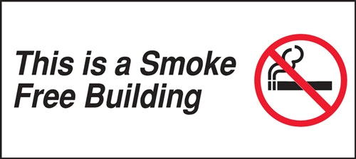 "This Is A Smoke Free Building- 9""w x 4""h Decal"