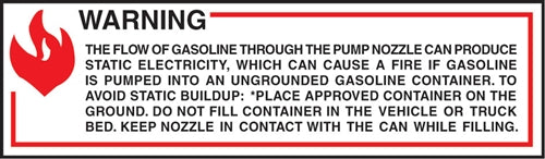 "Warning The Flow Of Gas- 6""w x 2""h Decal"