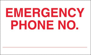 """Emergency Phone No."" Decal"