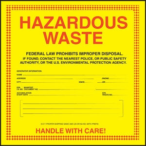 "Hazardous Waste- 6""w x 6""h Decal"