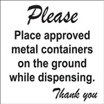 "Place Containers On Ground- 6""w x 5""h Decal"