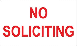 "No Soliciting- 5""w x 3""h Decal"