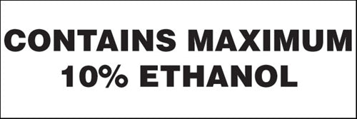 "Decal- ""Maximum 10% Ethanol"""