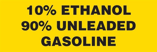 "Decal- ""10% Ethanol 90% Unleaded Gasoline"""