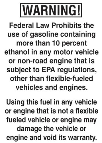 "WARNING! Federal Law Prohibits- 5""w x 7""h Decal"