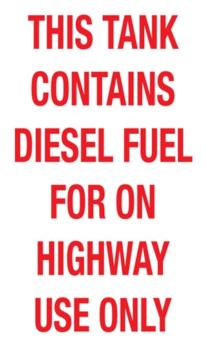 "This Tank Contains Diesel Fuel- 6""w x 10""h Decal"