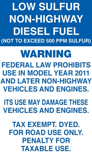 "Decal- ""Ultra-Low Sulfur Diesel Fuel"""