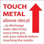 "Touch Metal Above- 6""w x 6""h Decal"