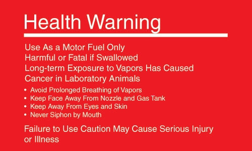 "Gasoline Health Warning- 5""w x 3""h Decal"