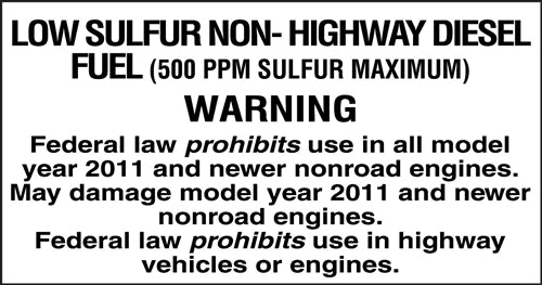 """Low Sulfur Non-Highway Diesel"" Decal"
