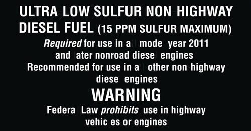 "Ultra-Low Sulfur Non-Highway Diesel Fuel- 5.25""w x 2.75""h Decal"