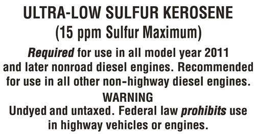 "Decal- ""Ultra Low Sulfur Kerosene"""