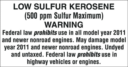 "Decal- ""Low Sulfur Kerosene"""