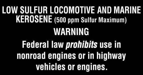 "Low Sulfur Locomotive & Marine Kerosene 5.25""w x 2.75""h Decal"