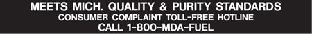 "Decal- ""Meets Michigan Quality & Purity Standards"" White on Black"