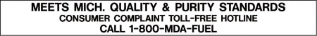 "Decal- ""Meets Michigan Quality & Purity Standards"" Black on White"