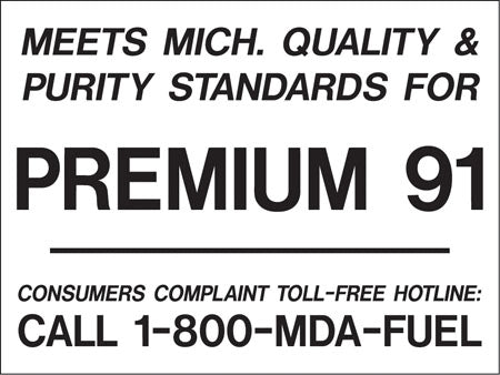 "Decal- ""Meets Michigan...Premium 91"" Black on White"