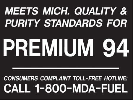"Decal- ""Meets Michigan...Premium 94"" Black on White"