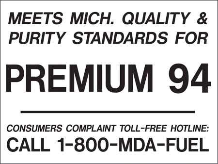 "Decal- ""Meets Michigan...Premium 94"" White on Black"